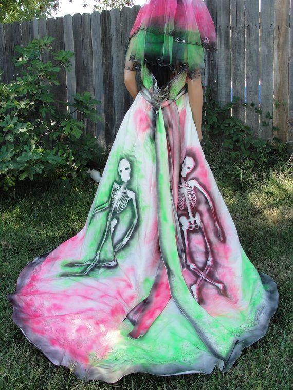 large xl size 18 w hand painted skeleton wedding dress dia de los muertos - Size 18 Halloween Costumes