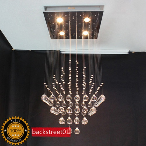 Modern Square Crystal Pendant Lamp Ceiling Light Rain Drop Chandelier Lighting C