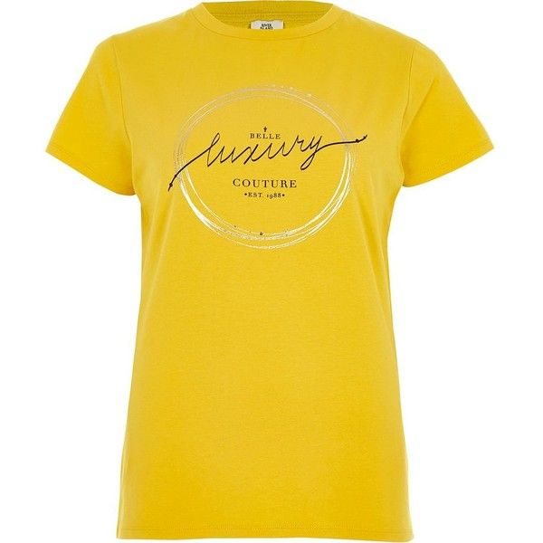 River Island Yellow 'belle luxury' foil print T-shirt ($36) ❤ liked on Polyvore featuring tops, t-shirts, print t-shirts / vests, women, yellow, fitted t shirts, yellow t shirt, yellow vest, crew t shirt and foil print t shirt