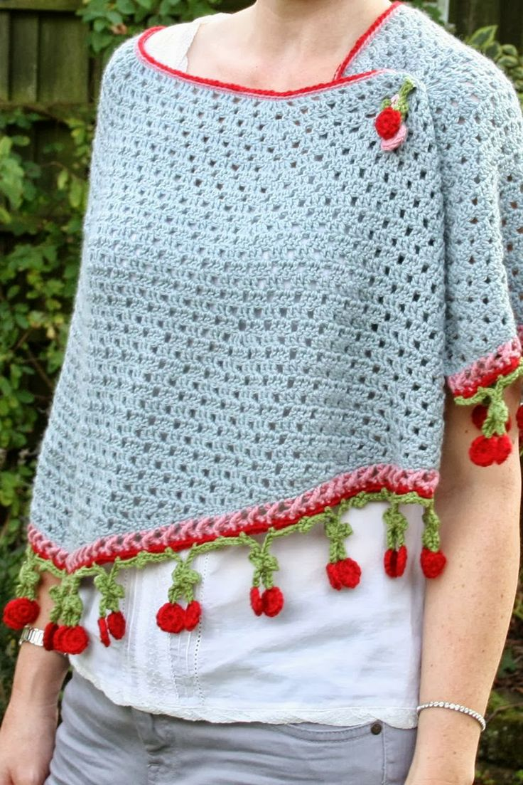 """Cherry Kisses Shawl By Sandra Paul - Purchased Crochet Pattern - UK And US Terms Included - (ravelry) One of the cutest """"fringes"""" I've seen!! LOVE IT!!"""