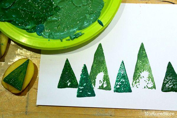 potato printing Christmas trees