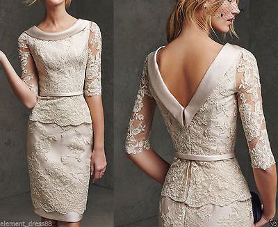Champagne Mother of The Bride Lace Dresses Knee Length For Wedding Party Gowns in Clothes, Shoes & Accessories, Wedding & Formal Occasion, Mother of the Bride | eBay