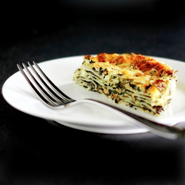 Super-speedy spinach lasagne made with gow gee wrappers.