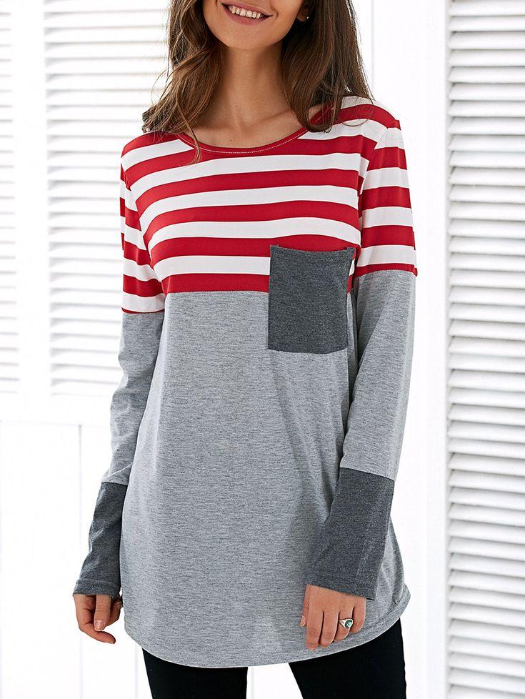 Patchwork Striped Asymmetric T-Shirt