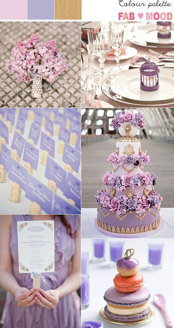 lilac dusty pink gold wedding theme, gold pink lilac wedding colour palette - i want that Marie Antoinette cake!!