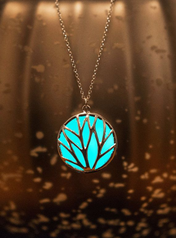 Glowing Jewelry - Aqua Statement Necklace - Turquoise Necklace - Glow in the Dark Necklace - Circle of Nature  - Glowing Necklace - For Her