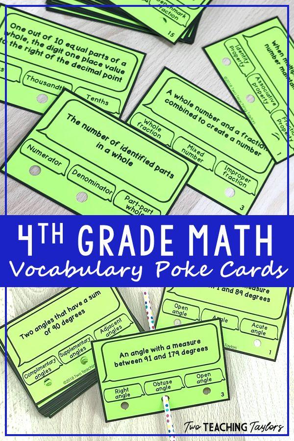 4th Grade Math Vocabulary Activity