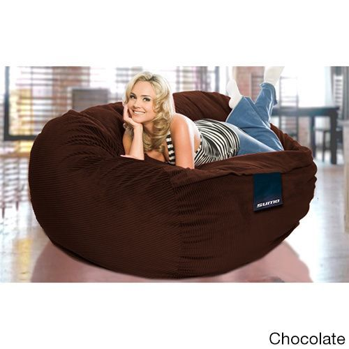 Sumo Titan Brown Corduroy Large Bean Bag Chair Black Denim