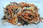 Баклажан — 3 шт Перец болгарский (красный) — 2 шт Морковь (крупная) — 1 шт Лук репчатый (больше среднего) — 1 шт Чеснок — 2 зуб. Уксус (столовый) — 1 ст. л. Масло растительное