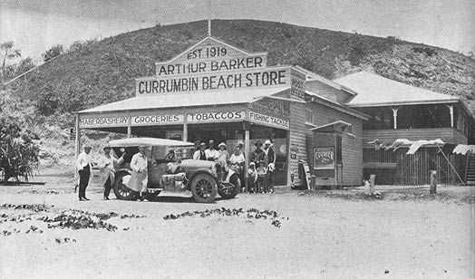 Arthur Barker, owner of Currumbin Beach Store, Queensland, Australia. (Photo undated) possibly late 1920's. v@e.