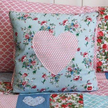 Heart Cushion Cover Painted Blue Floral - Oobi.com.au