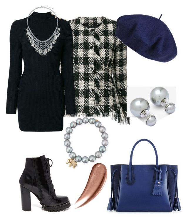 """""""Checkered Look 💙"""" by anca2 on Polyvore featuring Tagliatore, Balmain, Longchamp, Betmar, Sydney Evan, Ted Baker, Jeffrey Campbell and BERRICLE"""