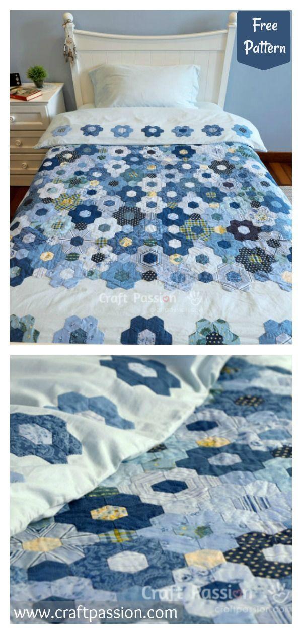 Hexagon Flower Quilt Duvet Free Sewing Pattern Quilted Duvet Flower Quilt Duvet Cover Pattern