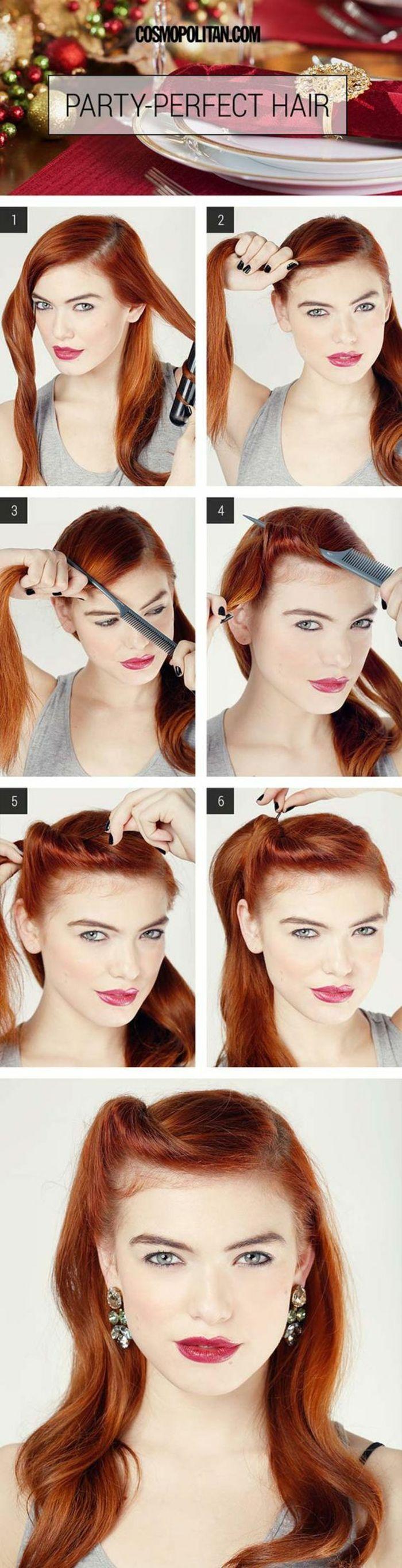 Party-Frisur Schritt für Schritt Anleitung für langes Haar, Retro-Frisur mit …  #anleitung #frisur #langes #party #retro #schritt