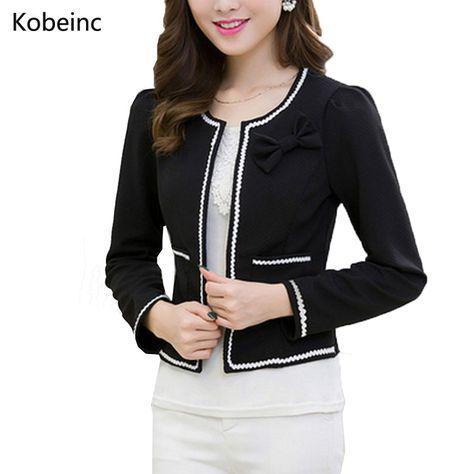 Fashion Hit Color Elegant Women Blazers Round Neck Long Sleeve Formal Jackets S-3XL Casaco Patch Bow Knot Slim Women Blazers