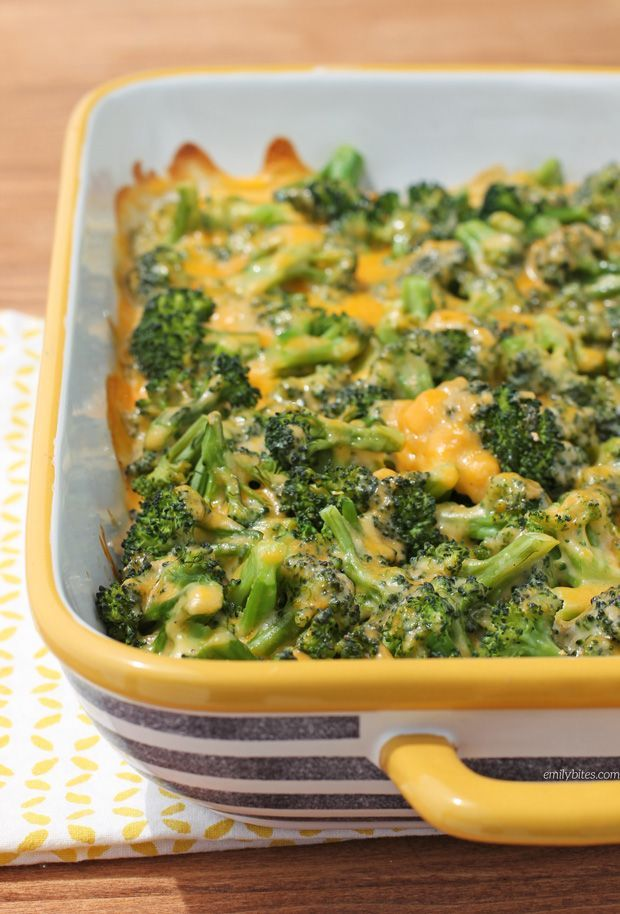This Cheesy Broccoli Bake is the perfect comfort food side dish - healthy, cheesy, easy and a great way to get picky eaters to like vegetables! Just 161 calories or 5 Weight Watchers SmartPoints per serving. www.emilybites.com