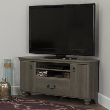 South Shore Grey Laminate Corner TV Stand with Adjustable Shelves Noble Corner…
