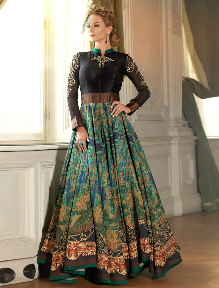 Bhagalpuri Silk Machine Work Multicolour Printed Semi Stitched Anarkali Suit - N2702