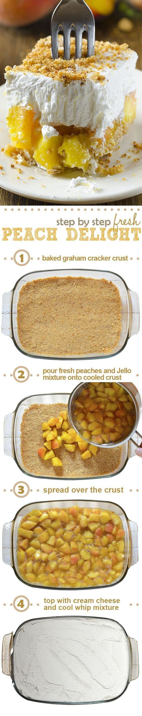 Fresh Peach Delight is a refreshing layered dessert - graham cracker crust is followed by a layer of fresh peach and jello filling, finished with a layer of cream cheese and cool whip mixture sprinkle with graham cracker crumbs on top.