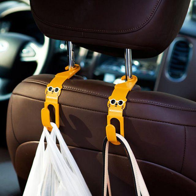 OTOKIT brand Universal Cute Car Back Seat Headrest Hanger Holder Hook for Bag Purse Cloth Grocery Storage Auto Fastener Clip