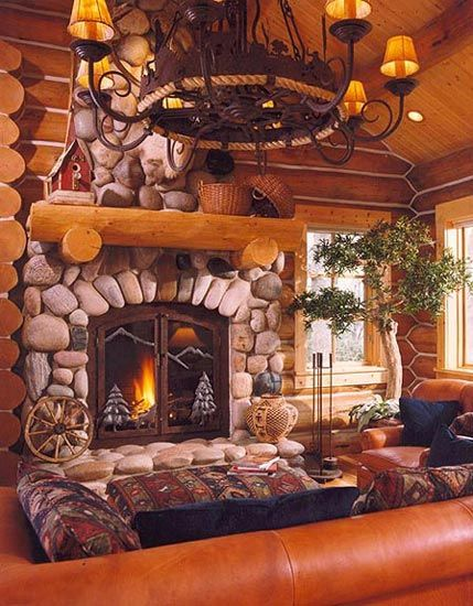 Love the stones around this fireplace...: Wrought Iron