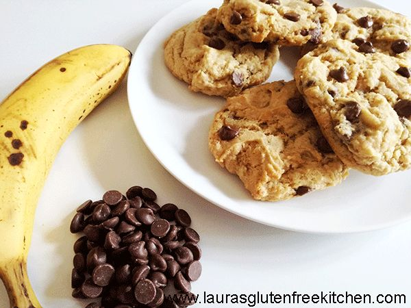 Gluten Free Banana Chocolate Chip Cookies, these cookies are soft and chewy with just the right amount of banana flavour.