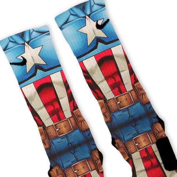 Captain America Avengers Custom Nike Elite Socks – Fresh Elites