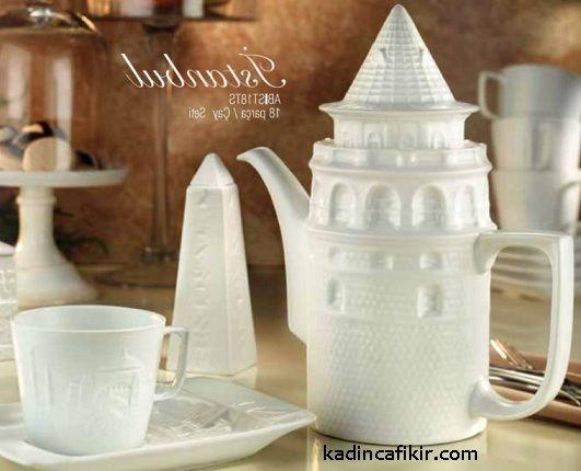 Kütahya Porselen Arte Bianco serisi İstanbul temalı çay fincanı, demlik, şekerlik; çay seti modeli | Kadınca Fikir