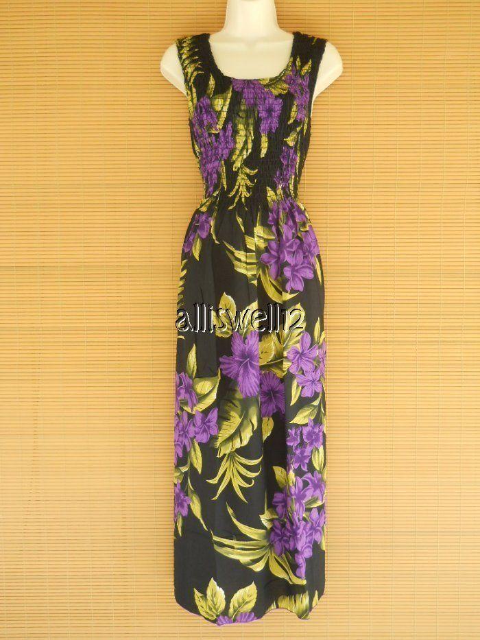long hawaiian tropical tank sleeveless smock luau dress black purple