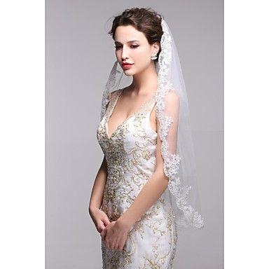 Wedding Veil One-tier Fingertip Veils Lace Applique Edge - USD $ 14.99