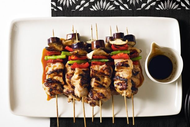 Chicken and vegetable yakitori -A Japanese street-food favourite, these chunky chargrilled skewers are oishii (delicious) dipped in the seasoned soy and ginger sauce.