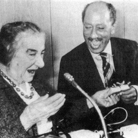 Anwar Sadat and Golda Meir Photographic Print