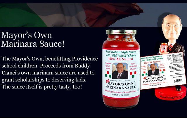 """Buddy Cianci Marinara sauce. """"Mayor's own marinara sauce""""."""