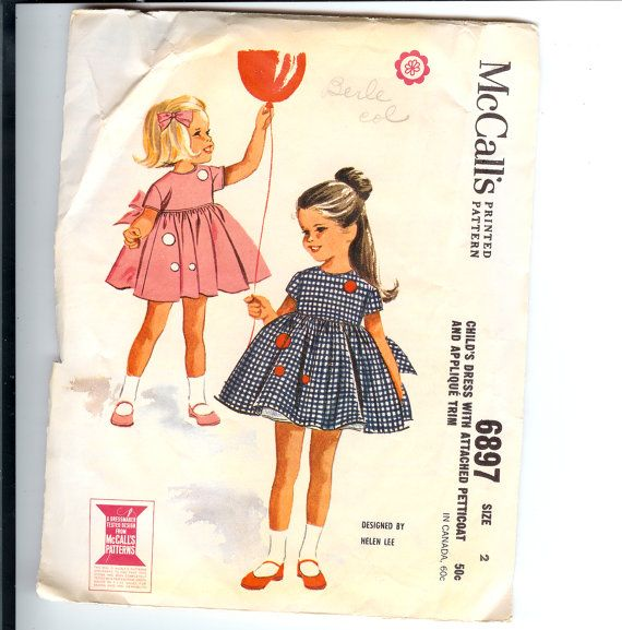 1960 McCall's Pattern 6897 Child's Dress with attached Petticoat and Applique Trim Designed by Helen Lee