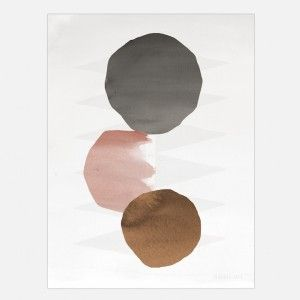 Altogether 1 Circles Art print - grey, blush and copper