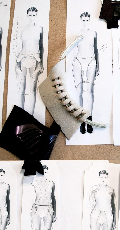 Fashion Sketchbook - fashion design drawings, swatches & fabric manipulation samples - the fashion designer's creative process; fashion portfolio // Pauline Van Dongen