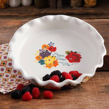 "The Pioneer Woman 9"" Ruffle Top Ceramic Pie Pan, Multiple Colors - Walmart.com"