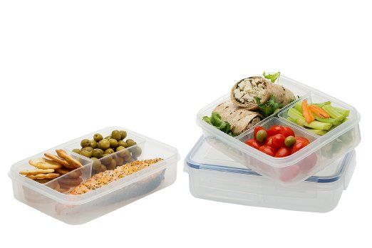Amazon.com: Komax Lunch Boxes, Set of 3, 100% Leak Proof High Quality Microwave Freezer and Dishwasher Safe, with 3 Compartment: Kitchen & Dining