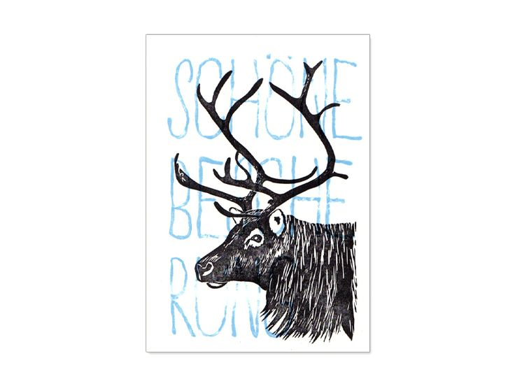 """Weihnachten - Weihnachtskarte Rentier """"Schöne Bescherung"""" - ein Designerstück von Ahoimeise bei DaWanda"""