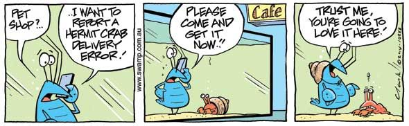 Bob the Crayfish has found his way out of the cooking pot with this ingenious plan. #swampcartoons #crayfish #hermitcrab #funnycartoons