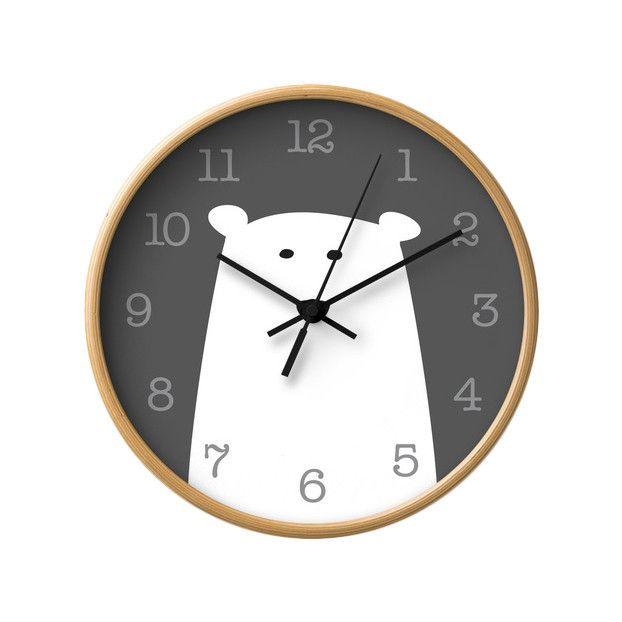 Polar bear nursery wall clock. Monochrome nursery decor - Latte Design  - 1