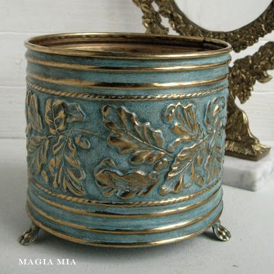 DIY reprint brass planters with chalk paint