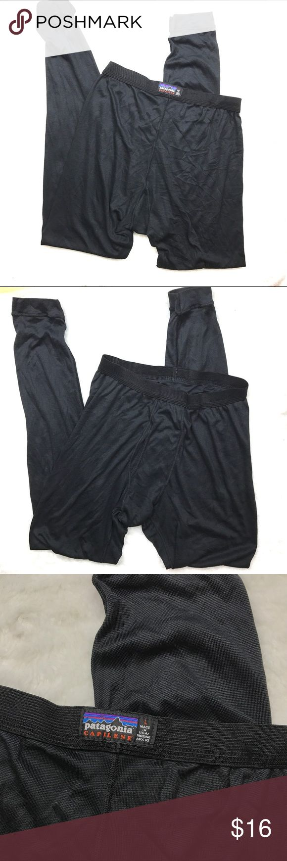 "Patagonia Capilene Thermals Black Pants  Baselayer Patagonia Capilene Long Underwear Baselayer Thermals Pants Mens Size Large - Excellent used condition  - Great Thermal pants  - 100% Polyester  - Length: 40"" - Elastic Waistband across: 13.5"" Patagonia Pants"