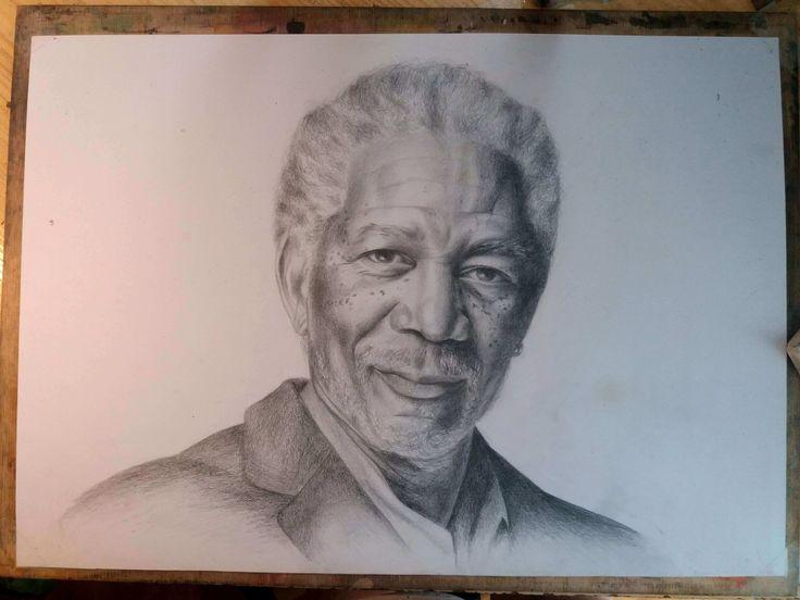 Morgan Freeman ceruza portré rajz