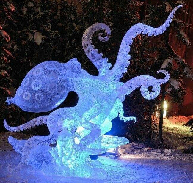 Octopus ice sculpture