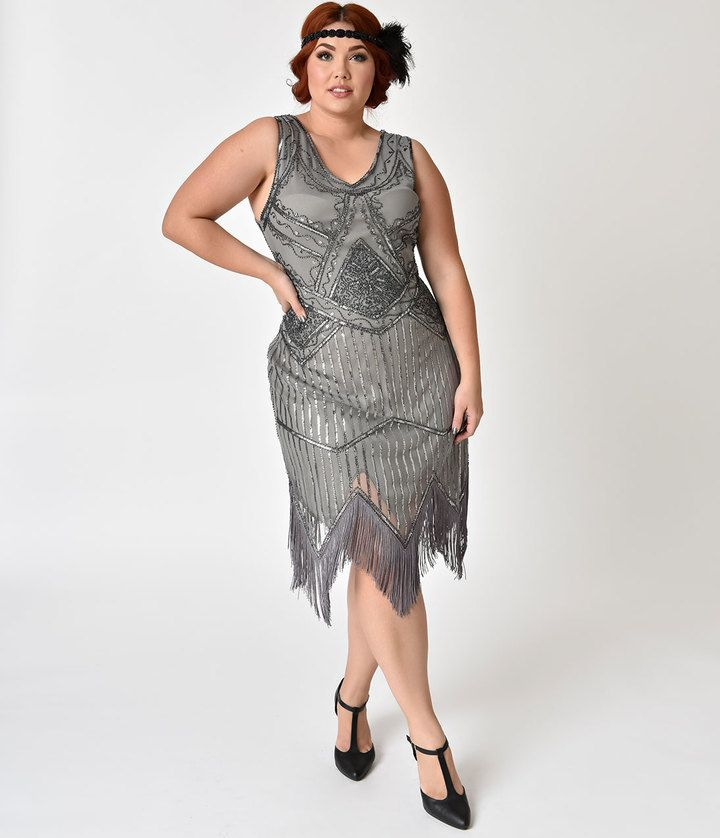 #UniqueVintage #PlusSize 1920s Grey Beaded Sequin Juliette Fringe #FlapperDress #newyeareveoutfit