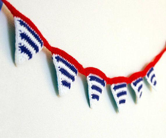 Gehäkelte Garland-Dreieck Bunting Flagge Girlande Wand hängen nautische Strand patriotische blau weiß rot