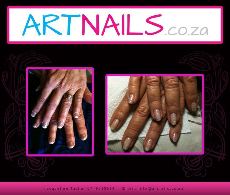 natural french look nail art white and silver nail art acrylic overlay onto natural nails