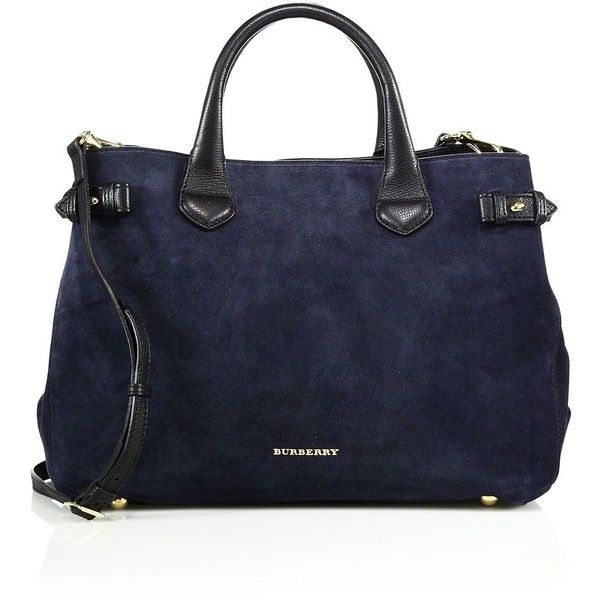 Burberry Banner Medium Suede & Leather Satchel found on Polyvore featuring bags, handbags, apparel & accessories, navy, burberry handbags, navy satchel handbags, satchel bag, navy handbag and navy blue handbags