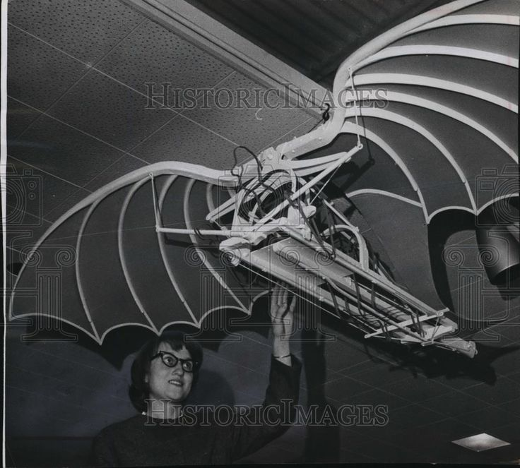 1965 Press Photo Mrs Gerald Draheim shown with Leonardo da Vinci's model plane This is an original press photo. A model flying machine, constructed from sketches and drawings from the notebook of Leonardo da Vinci, was suspended from the ceiling of the central library's display balcony. Mrs. Gerald Draheim, of 6343 N.84th st., admired the work. It was one of 22 models of Leonardo's inventions placed on exhibit Wednesday. They will be shown until Dec. 29.
